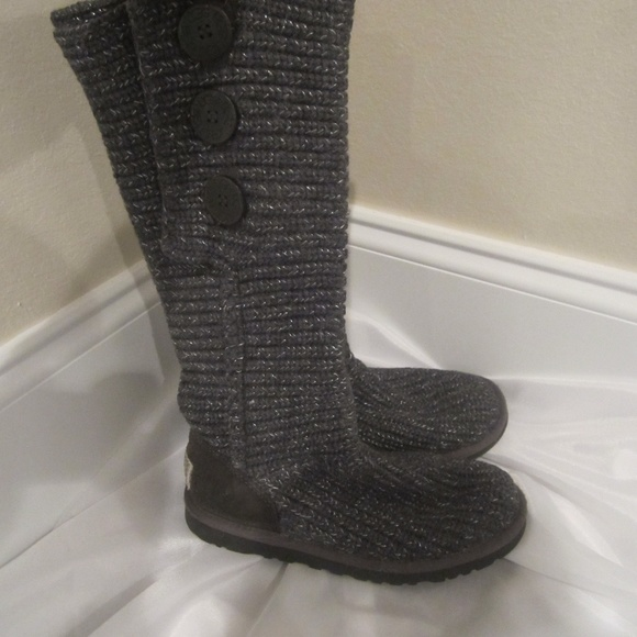 3001c6fc987 Ugg 6 Classic Cardy Boots Knit Suede Fall Gray